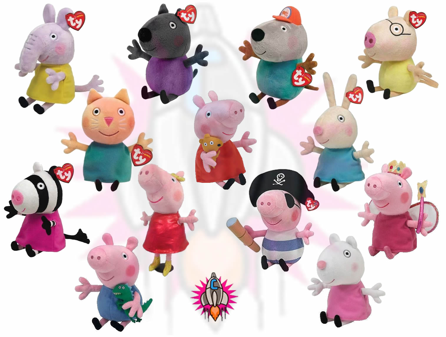 Toys And Friends : New ty beanie babies peppa pig and friends plush quot soft