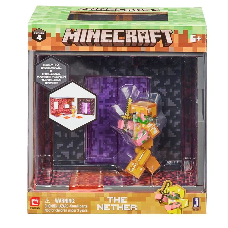 Minecraft The Nether Biome Action Play Set With Zombie