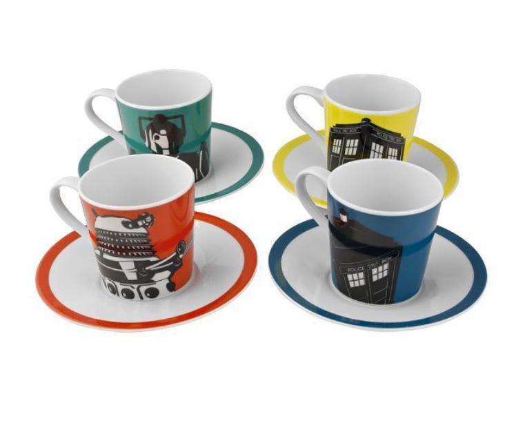 New Official Dr Who Ceramic Set Of 4 Espresso Cups Mugs