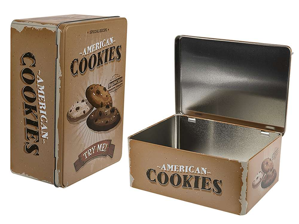 American Cookies Retro Metal Storage Biscuit Cake Tin