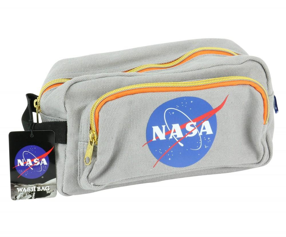 Official NASA gris toile insignes Délavé Articles De Toilette Sac neuf avec étiquettes