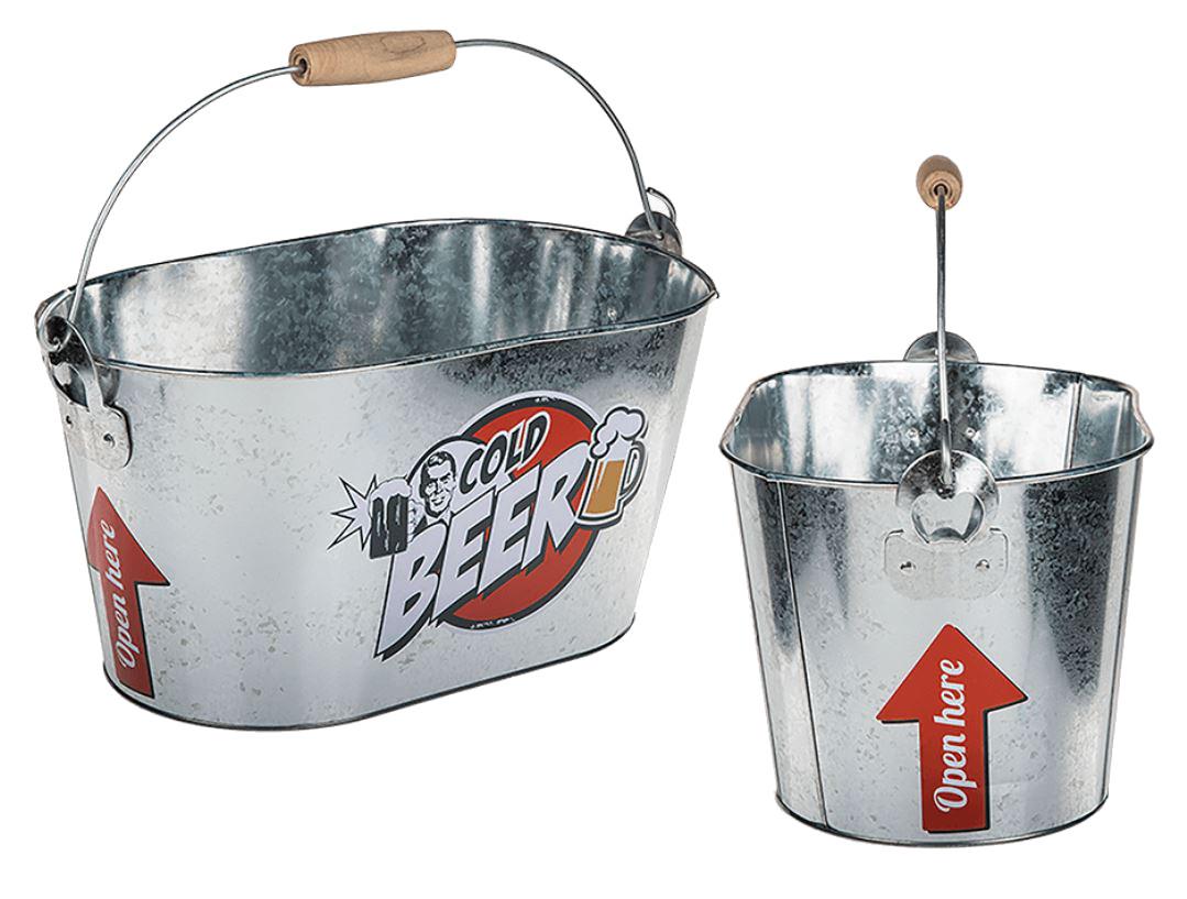 RETRO VINTAGE STYLE BEER ICE BUCKET BBQ COOLER WITH METAL BOTTLE OPENER