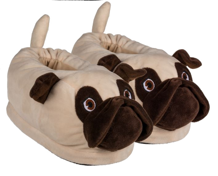 NOVELTY ADULTS PUG SHAPED HIGH QUALITY SUPER SOFT PLUSH SLIPPERS NEW WITH TAGS