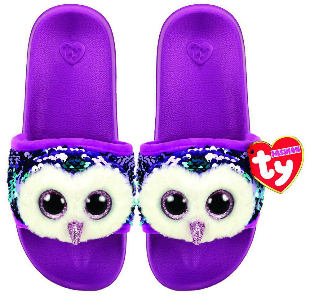 TY OWEN OWL POOL SLIDES SLIDERS SEQUIN FLIP FLOPS SMALL MEDIUM LARGE