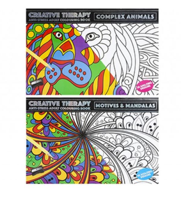 COLOUR THERAPY ANTI STRESS ADULT CALMING COLOURING BOOKS X 2+ 12 PENCILS  EBay