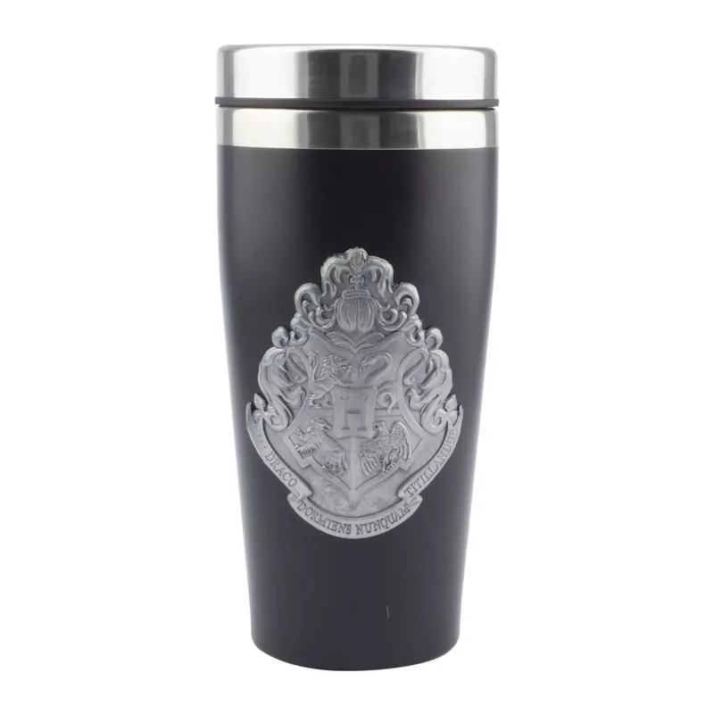 OFFICIAL HARRY POTTER HOGWARTS CREST STAINLESS STEEL TRAVEL COFFEE MUG CUP