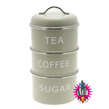 New tea coffee sugar vintage retro olive green stackable canisters container jar ebay - Tea coffee sugar stacking canisters ...