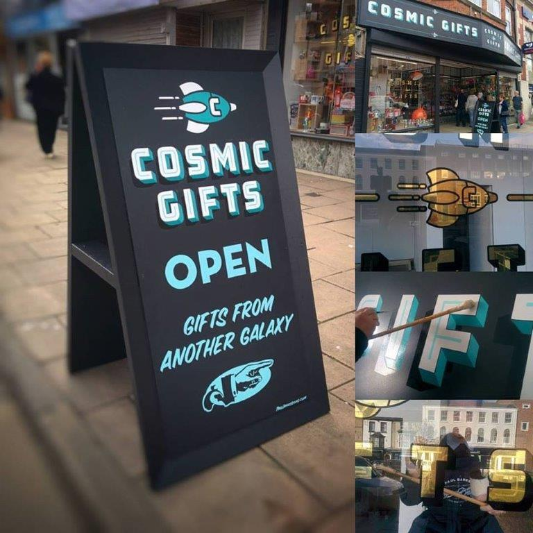 Cosmic Gifts Store front and signs